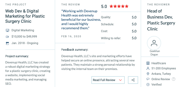 Reviews about Devenup Health at Clutch.co