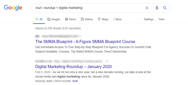 Example of how to search for roundup in Google